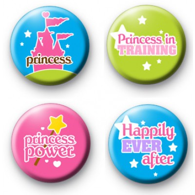 Set of 4 Princess Button Badges