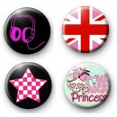 Set of 4 Punk Rock Princess Badges