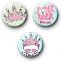 Set of 3 Cute Punk Princess Badges