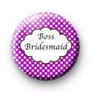 Purple Polka Dot Boss Bridesmaid Badges
