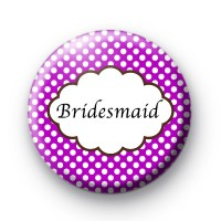 Purple Polka Dot Bridesmaid Badges