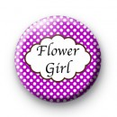 Purple Polka Dot Flower Girl Badges