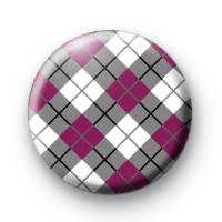Purple and Grey Argyle Pattern button Badge