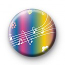 Rainbow Musical Notes Button Badge