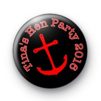 Red Anchor on Black Hen Party Badge