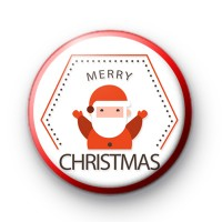 Red Santa Claus Merry Christmas Badge