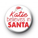 Red and White Custom Name Believe in Santa Badges