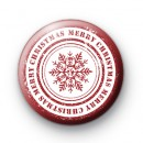 Red and White Snowflake Merry Christmas Badge