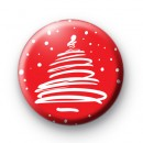 Cute Red and White Xmas Tree Badge