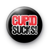 Cupid Sucks Red and Black Badges