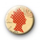 Red dotty Queen button badges