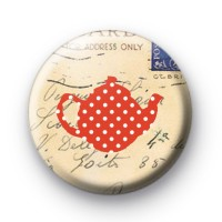 Red dotty spott teapot button badges