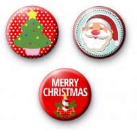 Set of 3 Red Festive Christmas Badges