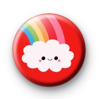 Cute Red Happy Face Cloud Badge