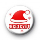 I Believe Red Santa Hat Badges