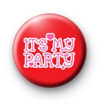 Red Its My Party Button Badges