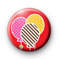 Red Three Party Balloons Badge
