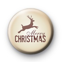 Merry Christmas Brown Reindeer Badge