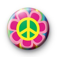 Bright Retro Peace Flower Button Badges