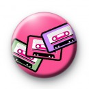 Retro Tapes Pink Button Badges