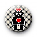 Robot Cute Love Heart Badges