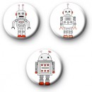 Set of 3 Robot Badges