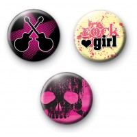 Set of 3 Rocker Girl Pin Badges