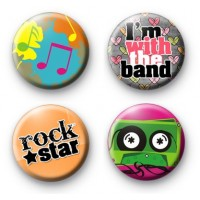 Set of 4 Rock Music Badges