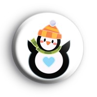 Round Festive Penguin Badge