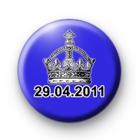 Blue Royal Wedding Date Button Badges