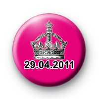 Pink Royal Wedding Date Button Badges