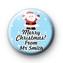 Santa Custom Teacher Text School Christmas Name Badge