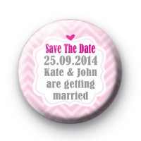 Cute Pink Save The Date Badges