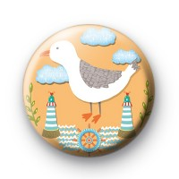 Seaside Seagull Button Badge