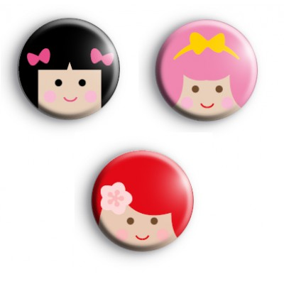 Cute Set of 3 Kawaii Girls Badges