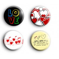 Set of 4 Romantic Badges