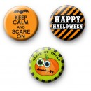 Set of 3 Scary Halloween Pin Badges