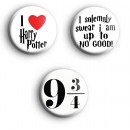 Set of 3 Harry Potter Button Badges