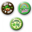 Set of 3 Fun St Patricks Day Pin Badges