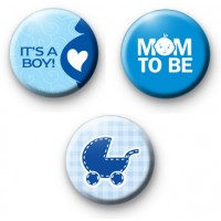Set of 3 Its a BOY Button Badges
