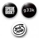 Set of 3 Geek Nerd Button Badges