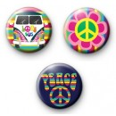 Set of 3 Rainbow Peace Badges