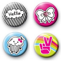 Set of 4 Super Cute Girly Badges
