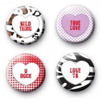 Set of 4 Candy Heart Slogan Badges