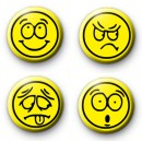 Set of 4 Cool Yellow Smiley Face Badges