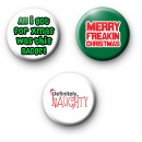 Set of 3 Anti Christmas Badges