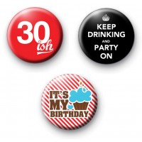Set of 3 30ish Birthday Badges