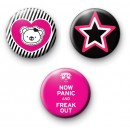 Set of 3 Pink and Black Badges
