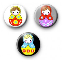 Set of 3 Matryoshka Doll Badges