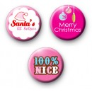 Set of 3 Pink Christmas Badges